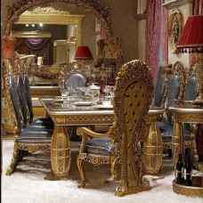 European classic style elegant antique gold wooden dining room furniture sets with dining table and chairs