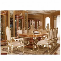 Victoria Style Carved Wooden Rectangular Dinning Table With Chairs, Luxury Hand