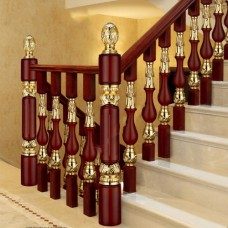 Interior decoration brass stair rod and copper clip wood stair railing