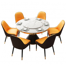 Luxury Stainless Steel 6 Seater Leather Chair And Marble Round Dining Table With Rotating Centre
