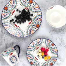Creative exquisite hand-painted new bone china plate ceramic Western plate 11 inch large dish bulk dinner plates