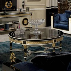 Luxury living room furniture round antique wooden coffee table
