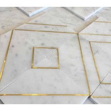 Water Jet Marble Mosaique Surface Floor Tile With Brass Inlay Mosaic Pattern