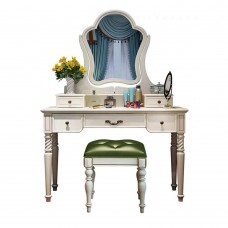 European Hollywood fancy luxury royal wooden makeup vanity dressing table with mirrors