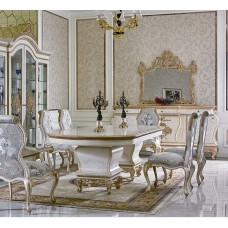 European classic dining room set; luxury wooden furniture either with gold foil or without gold foil
