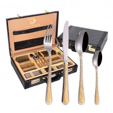 86PCS High Quality Stainless Steel Gold Cutlery Set With Leather Case