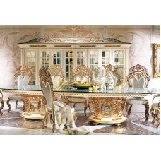 Italian Style Royal Golden Brass Oval Banquet Dining Table for 12 People