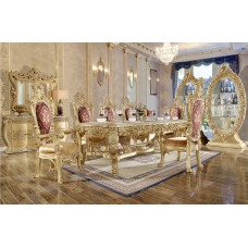 Luxurious Italian Palace Mahogany Wood Carving Dining Table And Chair Antique Dining Room Furniture