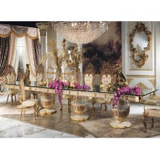 Luxury Italy style white color solid wood carving glass top 6M rectangular dining table set with 18 chairs