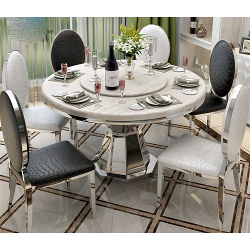 Stainless Steel Marble Dining Table With Rose Golden Dining Tables Set Dining Table Round