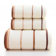 Adults Age Group Plain Style Home Environment Customize Logo Specification Fancy Striped Bath Towels