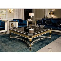 European classical living room furniture luxury square wooden coffee table