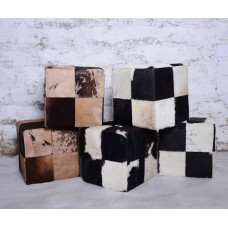 Leather Puffs & Ottomans, Vintage Hair On Leather Puffs & Ottomans